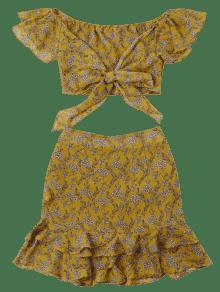 Amarillo Descubiertos De Dos Falda Vuelo Conjunto Y Piezas De Con L Hombros xzXwwAvq