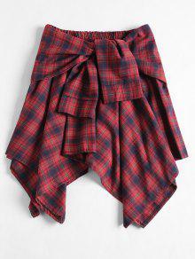 تنورة غير متماثلة منقوش ربطة - الكرز الاحمر