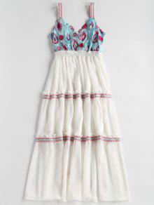 فستان مطرز ميدي - أبيض S
