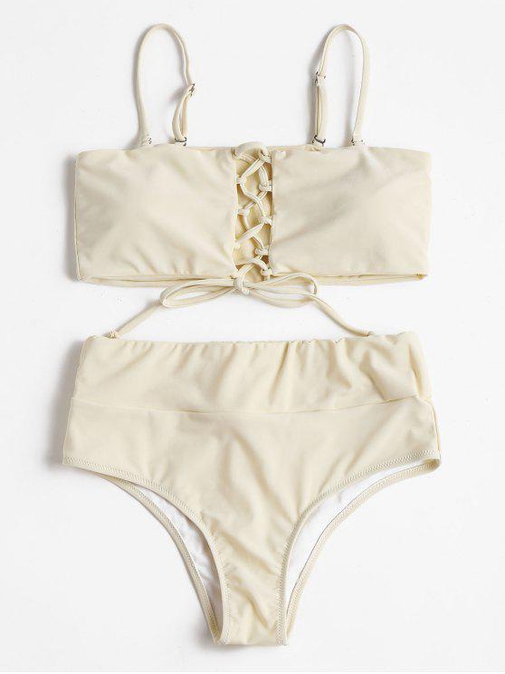 fashion High Waisted Lace Up Bikini - BEIGE S