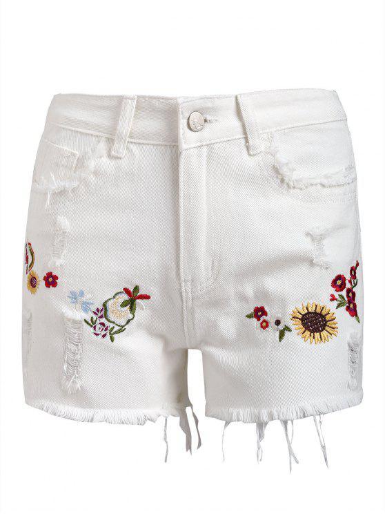 شورت دانيم مرقع بالأزهار مهترئ الحاشية - أبيض L