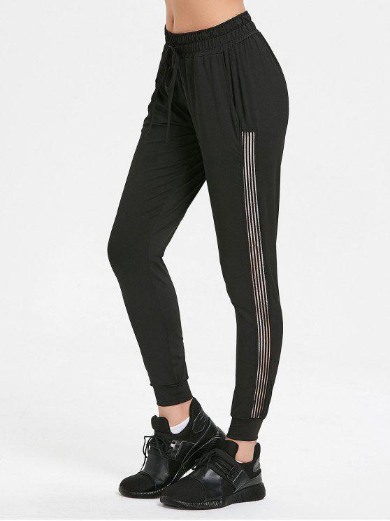 women Tape Jogger Pants - BLACK M