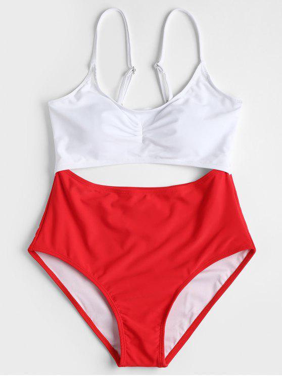 لباس سباحة بلونين - أحمر S