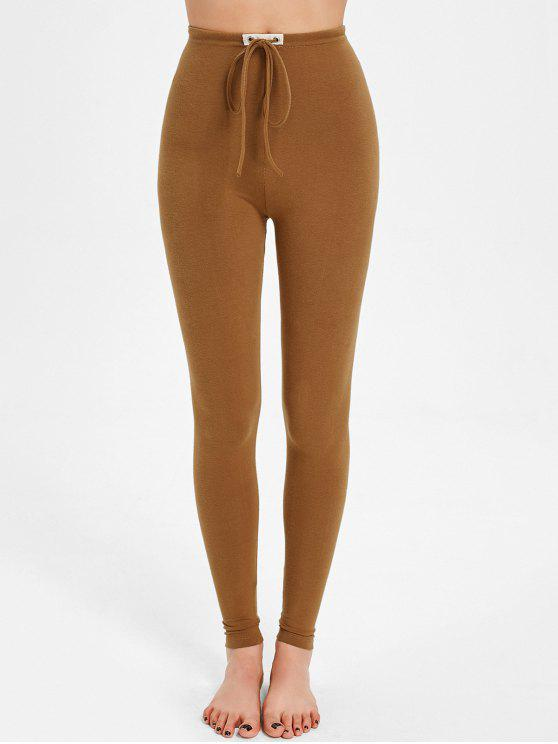 affordable Drawstring Skinny Pants - YELLOW ONE SIZE