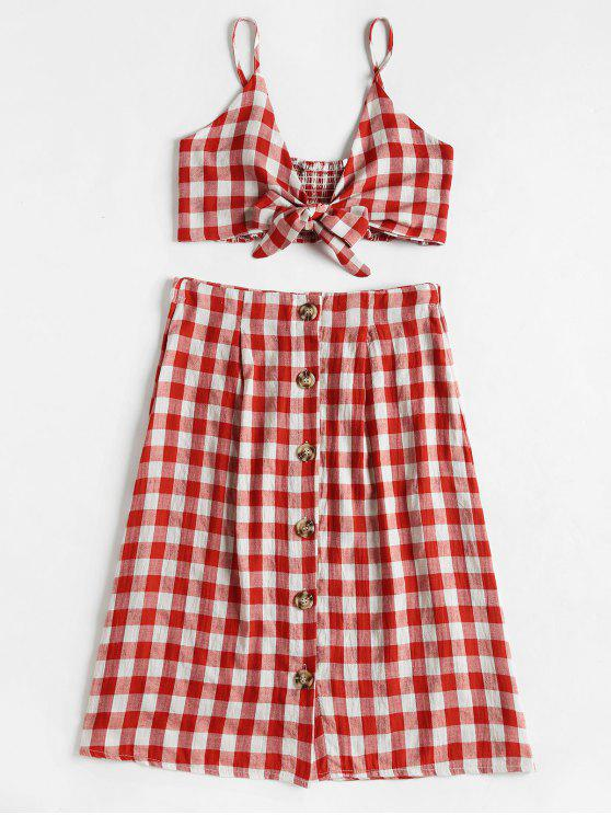 7c06acf050880 19% OFF  2019 Checked Crop Cami Top And Skirt Set In RED