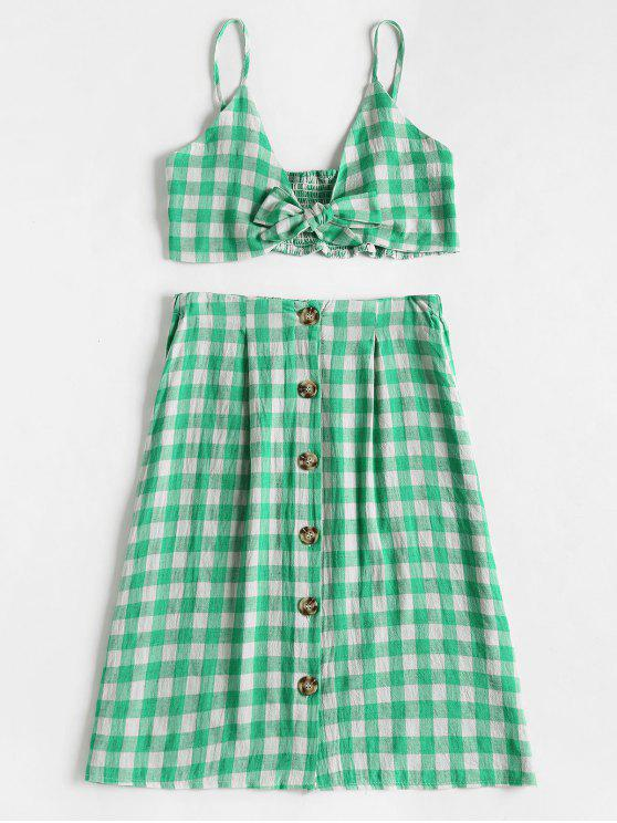 women Checked Crop Cami Top and Skirt Set - GREEN S