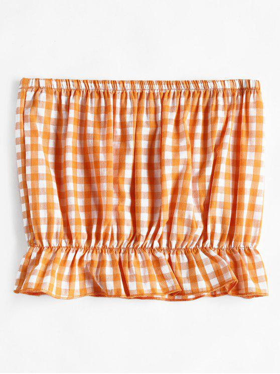 Parte superior do Bandeau do guingão Frilled - Laranja Escuro 2XL