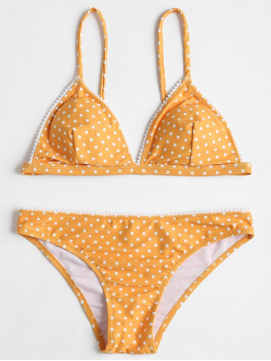 shop Polka Dot Bikini Set - BEE YELLOW M