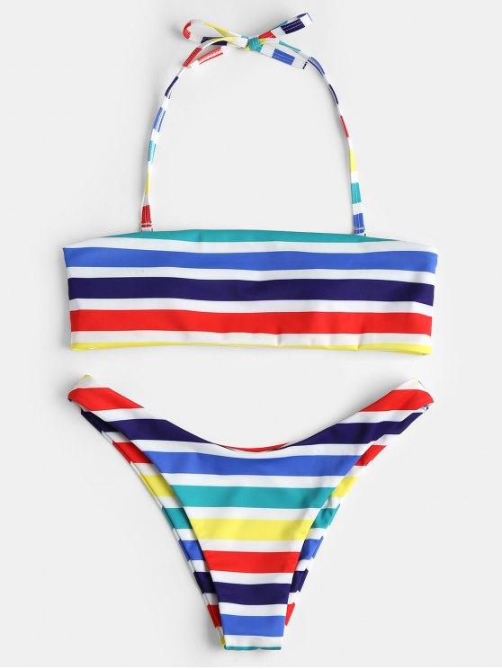 ladies Rainbow Striped Bandeau Bikini Set - MULTI M