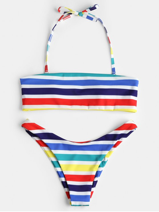 Ensemble Bikini Bandeau à Rayures Arc-en-Ciel - Multi M