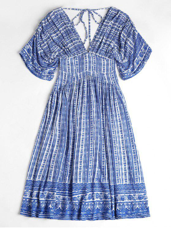 Porzellan Druck mit  V-Ausschnitt Robe Midi Kleid - Saphir Blau XL