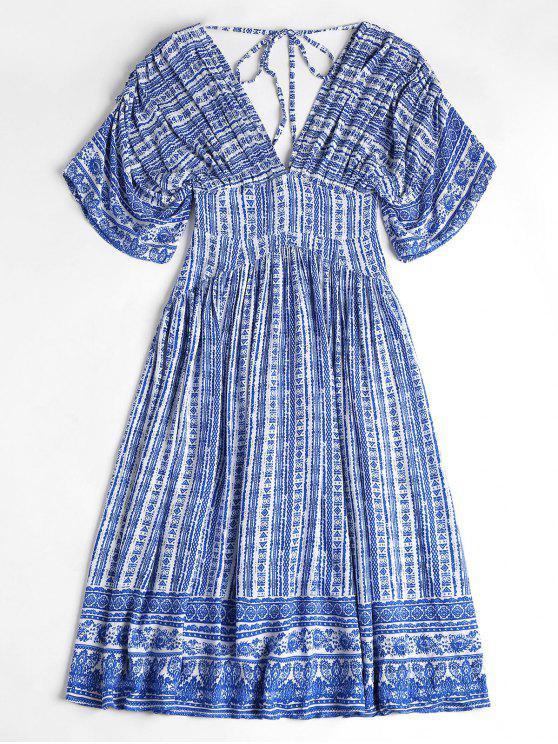 Porzellan Druck mit  V-Ausschnitt Robe Midi Kleid - Azurblau L