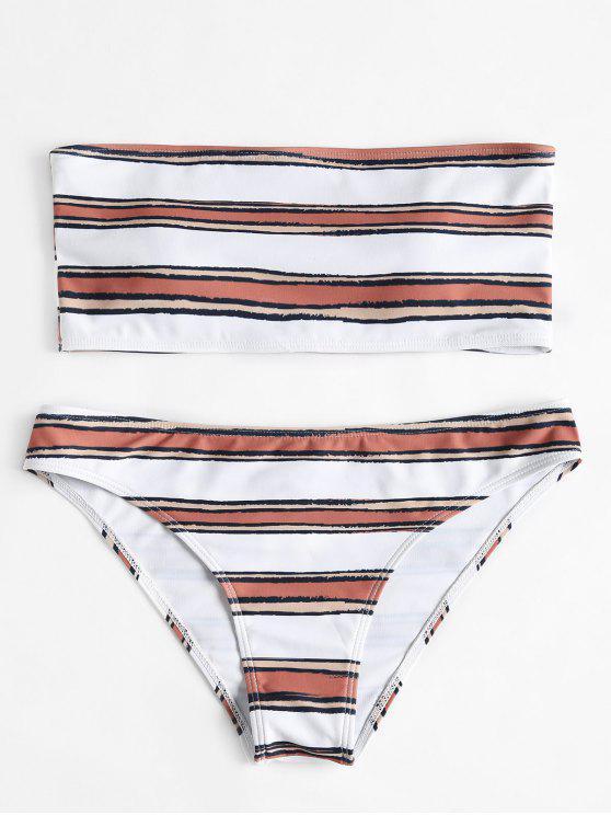 Conjunto de biquíni bandeau de listra horizontal - Branco L