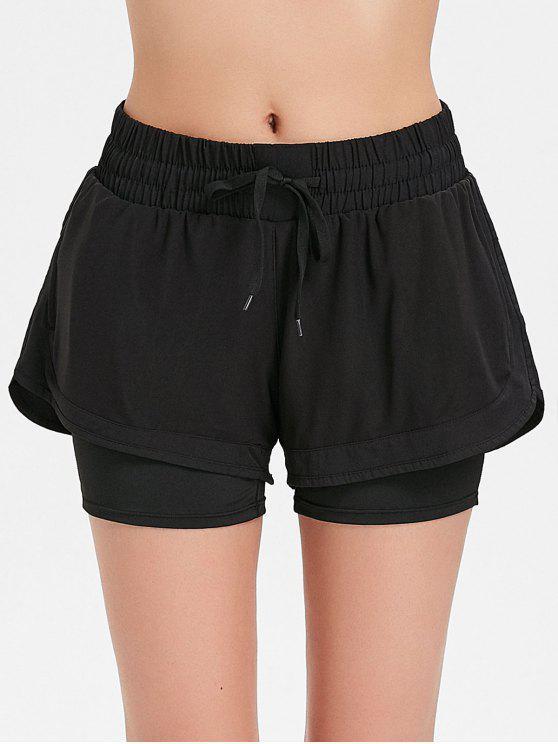 Pantalones cortos deportivos de malla superpuesta - Negro M