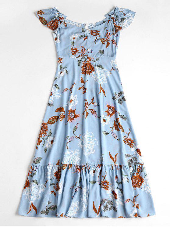 Schulterfreies Blumen Midi-Kleid - Denim Blau S