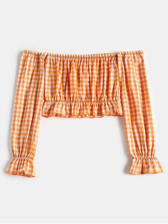 Top corto con hombros descubiertos de guinga - Naranja M