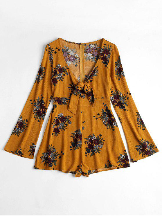 fancy Knot Front Floral Print Long Sleeve Romper - SCHOOL BUS YELLOW L