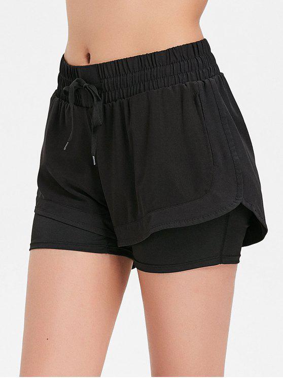 women Mesh Overlay Sports Shorts - BLACK M
