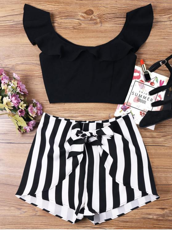 outfit Ruffle Striped Shorts Two Piece Set - BLACK L