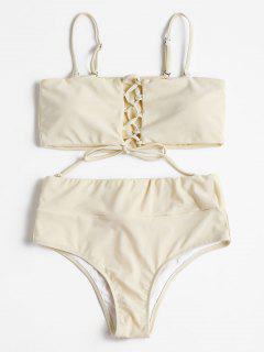 Hoch Taillierter Schnürung Bikini - Beige  M
