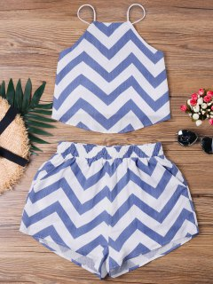 Chevron Crop Top Two Piece Set - Blue Xl