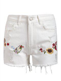 Frayed Hem Floral Patched Denim Shorts - White M