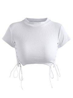 Top Côtelé à Lacets - Blanc S