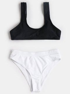 Scoop Two Tone High Cut Bikini - White And Black L
