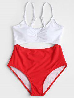 Zweifarbig Ausgeschnitt Badeanzug - Rot S