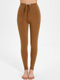Drawstring Skinny Pants - Yellow