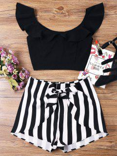 Ruffle Striped Shorts Two Piece Set - Black L