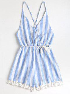 Tassels Stripes Criss Cross Romper - Light Blue M