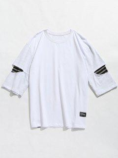 Striped Panel Drop Shoulder Tee - White L