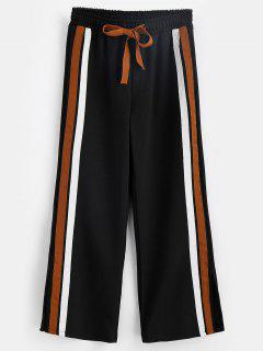 Striped Patched Slit Pants - Black L