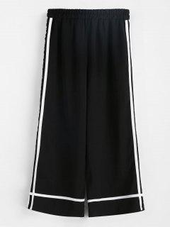 Striped Patched Capri Pants - Black M