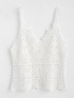 Hollow Out Crochet Tank Top - White