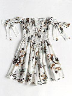 Floral Print Smocked Loose Romper - White Xl