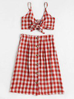 Checked Crop Cami Top And Skirt Set - Red L