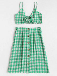 Checked Crop Cami Top And Skirt Set - Green M