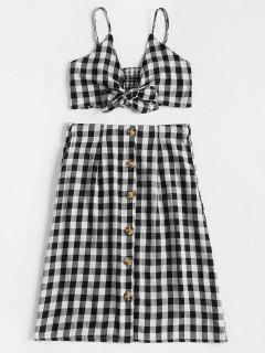 Checked Crop Cami Top And Skirt Set - Black White L