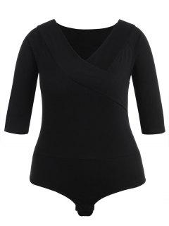 Plus Size Plain V Neck Bodysuit - Black 1x