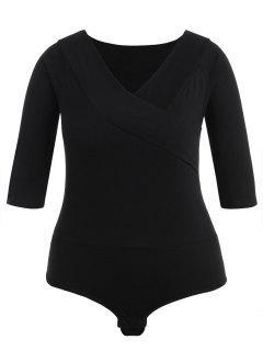 Plus Size Plain V Neck Bodysuit - Black 2x