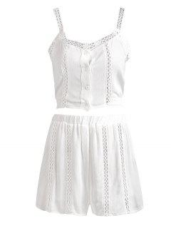 Buttoned Openwork Top With Shorts Suit - White M