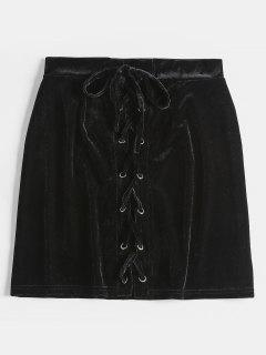 Lace Up Velvet Skirt - Black S