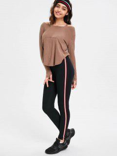 Side Stripe Skinny Pants - Dark Red