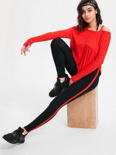 Pantalon Skinny à Rayures Latérales - Rouge