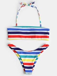 Conjunto De Bikini Con Rayas De Arco Iris - Multicolor S