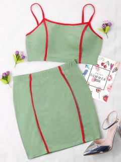 Contrast Trim Skirt Two Piece Set - Green Xl