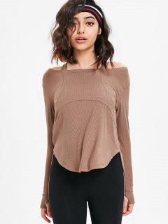 Thumbhole Ribbed Cold Shoulder Top - Dark Khaki L