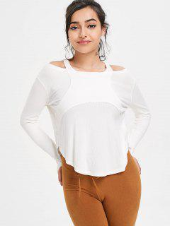 Thumbhole Ribbed Cold Shoulder Top - White M